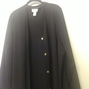 Long button down coat or dress.